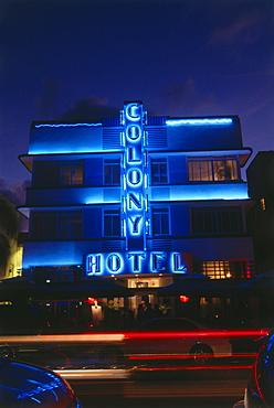 Ocean Drive at night, South Beach, Miami, Florida, USA