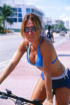 Girl with Mountain Bike, South Beach, Miami, Florida, USA
