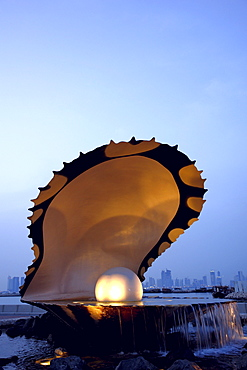 A giant pearl in a shell, Doha, Qatar