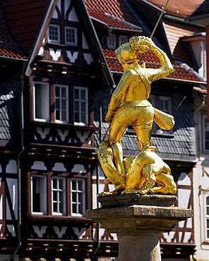St. George statue on fountain at the market square in Eisenach, Thuringia, Germany