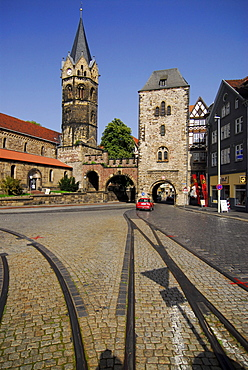 Nikolai church and gate, Eisenach, Thuringia, Germany