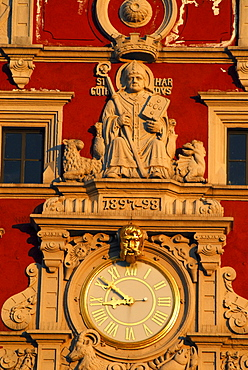 Close up of the townhall clock, Gotha, Thuringia, Germany