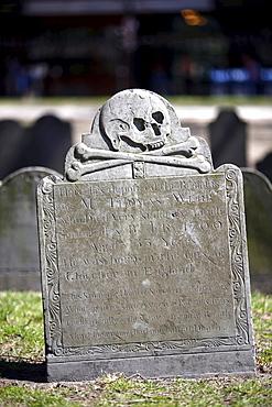 A gravestone in a cemetary, Old Granary Burying Ground, Boston, Massachusetts, USA