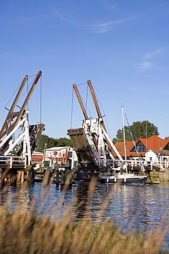 Bascule bridge, Greifswald-Wieck, Baltic Sea, Mecklenburg-Western Pomerania, Germany