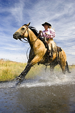 cowgirl riding through water, Oregon, USA