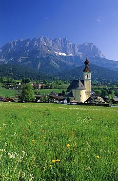 church of Going with sea of dandelion and Wilder Kaiser range, Kaiser range, Tyrol, Austria
