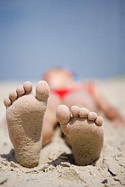 Sandy Feet at Henne Strand Beach, Henne Strand, Central Jutland, Denmark