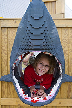 Boy in Lego Shark, Legoland, Billund, Central Jutland, Denmark