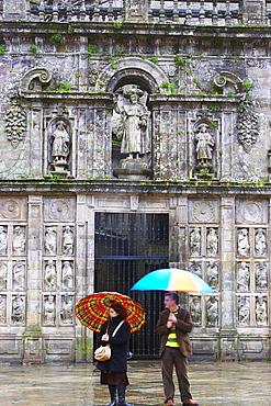East side of the cathedral in rain, Catedral de Santiago de Compostela, Praza da Quintana, Puerta Santa, Puerta del Perdon, Galicia, Spain
