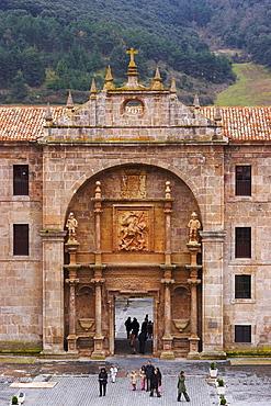 Portal showing St. Millan fighting Moors, monastery, Monasterio de Yuso, San Millan de la Cogolla, La Rioja, Spain