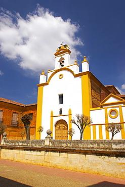 View with church, Iglesia de Panchovilla in the town of Sahagun, Castilla Leon, Spain