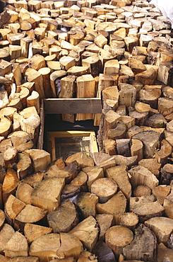 A huge pile of firewood, Wood Carver Tittl & Sohn, Horska Kvilda, Sumava, Bohemian Forest, Czech Republic