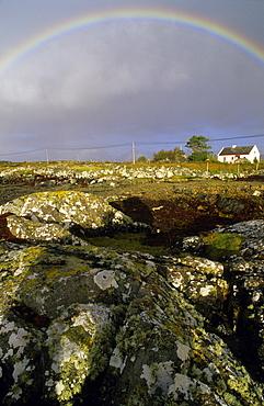 Coastal landscape near Glinsk with rainbow, Connemara, Co. Galway, Ireland, Europa
