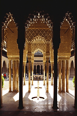 Courtyard of the Lions with fountain and arcades in the Moorish palace Alhambra, Granada, Andalusia, Spain