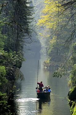 Kamenice-Canyon with boat, Bohemian Switzerland, Czech Republic