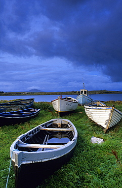 Boats in Dogs Bay, Europe, Connemara, Co. Galway, Ireland, Europe