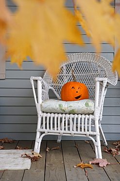 Halloween decoration on a porch in New England, USA