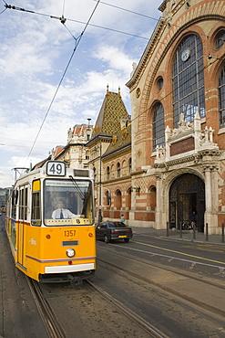 Budapest Tram and Central Market Hall, Pest, Budapest, Hungary