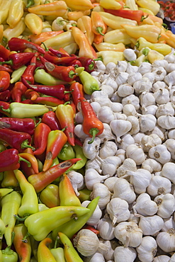 Sweet Paprika Peppers and Garlic Cloves in Central Market Hall, Pest, Budapest, Hungary