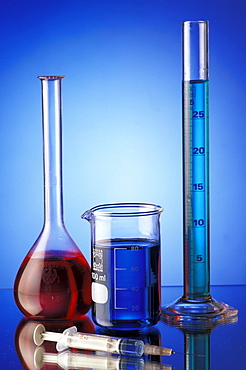 Laboratory flasks with coloured liquids