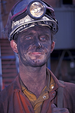 Portrait of a miner, Tower Colliery deep-coal mine, Hirwaun, County Mid Glamorgan, Wales, United Kingdom