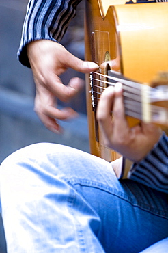 Street musician with guitar, Barcelona, Spain