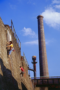 Climbers at Huette Meiderich, Public Park in Duisburg North, Duisburg, Ruhr Valley, North Rhine Westphalia, Germany