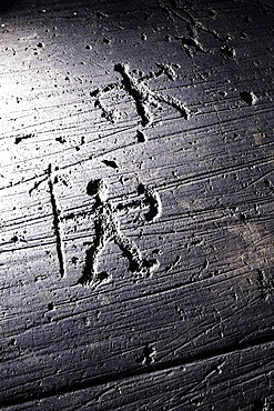 Warrior with spear and shield, Etruscan rock drawing, Seradina, Val Camonica, UNESCO World Heritage Site Val Camonica, Lombardy, Italy, Europe