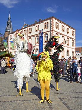 Easter market at St. Wendel with the band Trio Grande - Die Huehner, Saarland, Germany, Europe