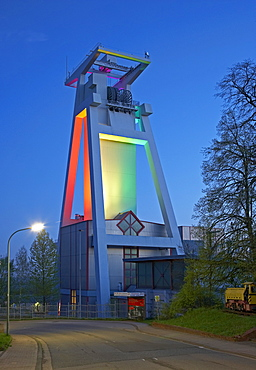 Light installation at the Shaft tower of former Goettelborn open-cast mine, Europe's tallest shaft-tower, Saarland, Germany, Europe