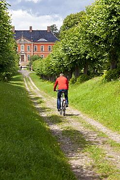 Cyclist on his way to Bothmer Castle, Feston Alley, Bothmer Castle, biggest Baroque Style castle in Mecklenburg, Kluetzer Winkel, backcountry, coast of the Baltic Sea, Kluetz, Mecklenburg-West Pomerania, Germany