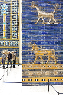 Sculpture, mural, visitors, Pergamon Museum, the Pergamon temple, antique collection, blue wall tiles, Museum Island, Berlin State Museums, Prussian Cultural Heritage Foundation, Berlin, Germany
