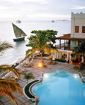 Serena Inn Hotel, former palace now luxury hotel of Aga Khan Group at the Forodhani shore of Stone Town, Zanzibar, Tanzania, East Africa