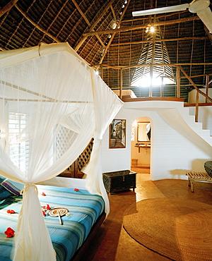 Two storeyed bungalow, Matemwe Bungalows, north eastern shore, Zanzibar, Tanzania, East Africa