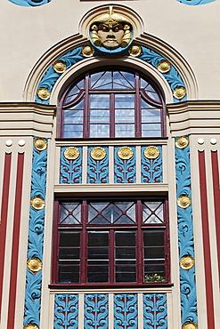 Art Deco facade of the Riess house, Ainmiller Strasse 22, Schwabing, Munich, Upper Bavaria, Bavaria, Germany, Europe
