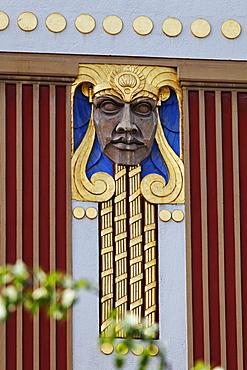 Detail of an art deco facade, Roemerstrasse, Schwabing, Munich, Upper Bavaria, Bavaria, Germany, Europe