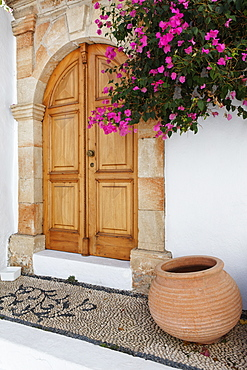 Entrance to one of the captain's houses, Lindos, Rhodes, Dodecanese Islands, Greece, Europe