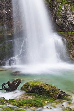 Waterfall in Vallesinella valley, Cascate di Vallesinella Alta, Brenta Adamello Nature Reserve, Madonna di Campiglio, Trentino, Italy