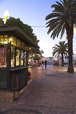 Kiosk and park on the river bank at evening, Tavira, Algarve, Portugal, Europe