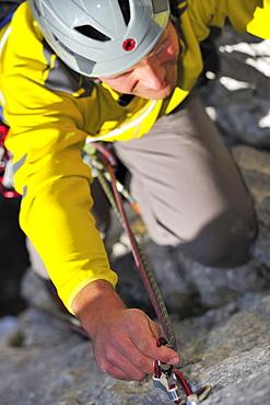 Climber at Kampenwand, Chiemgau Alps, Chiemgau, Upper Bavaria, Bavaria, Germany