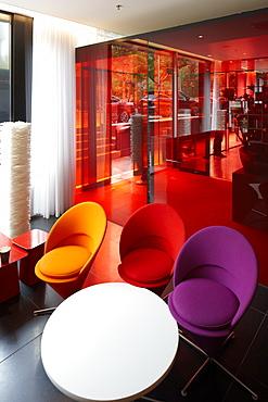 Lobby with designer furniture, Citizen M Hotel, Amsterdam, Netherlands