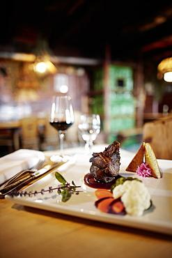 Dinner in the restaurant Rodelhuettenstube, Ecohotel Grafenast, Am Hochpillberg, Schwaz, Tyrol, Austria