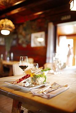 Dinner at the restaurant Rodelhuettenstube, Ecohotel Grafenast, Am Hochpillberg, Schwaz, Tyrol, Austria