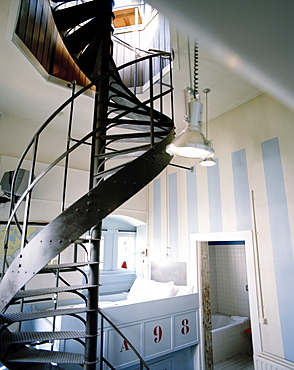 Big Tower room with stairs leading into the tower, Hotel New York, Kop van Zuid, Rotterdam, Netherlands