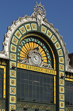 Detail of the facade of the central station, Bilbao, Province of Biskaia, Basque Country, Euskadi, Northern Spain, Spain, Europe
