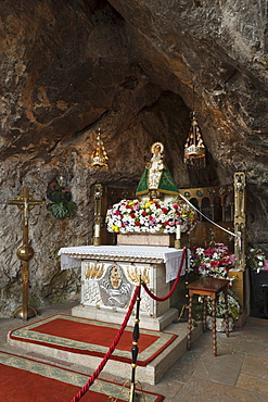Virgen de Covadonga, Virgin Mary at the holy cave Santa Cueva de Covadonga, Covadonga, Picos de Europa, Province of Asturias, Principality of Asturias, Northern Spain, Spain, Europe