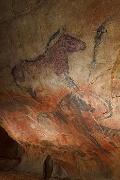 Horses, prehistoric painting, cave painting, about 15000 BC, Cueva de Tito Bustillo, cave near Ribadesella, replica, Parque de la Prehistoria de Teverga, Teverga, Park of Prehistory in Teverga, province of Asturias, Principality of Asturias, Northern Spain, Spain, Europe