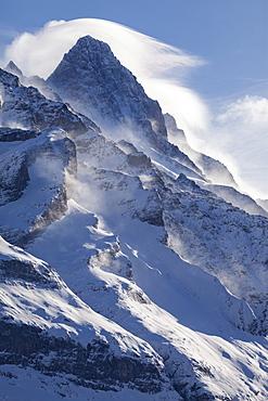 Strong winds form the typical Foehn cloud around the top of Schreckhorn, Grindelwald, Jungfrauregion, Bernese Oberland, Canton Bern, Switzerland, Europe