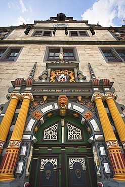 Portal of the town hall, Hannoversch Muenden, Weser Hills, North Lower Saxony, Germany, Europe