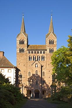 Westwork of Corvey abbey, Hoexter, Weser Hills, North Rhine-Westphalia, Germany, Europe